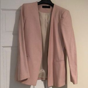 ZARA WOMAN pale pink tunic length blazer